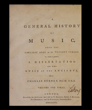 Title page of Burney's History of Music, signed by a previous owner