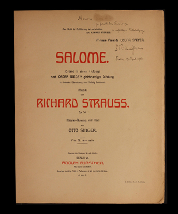 Title page of Richard Strauss's Salome, signed by Strauss